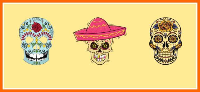 Bunte Totenschädel aus Mexiko zu Allerheiligen