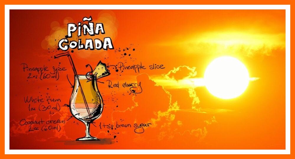 Sonnenuntergang und ein Cocktail Pina Colada