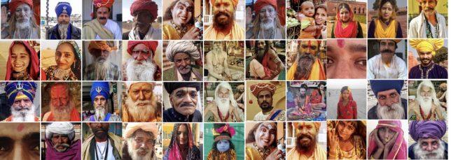 Gesichter von Männern und Frauen aus Indien